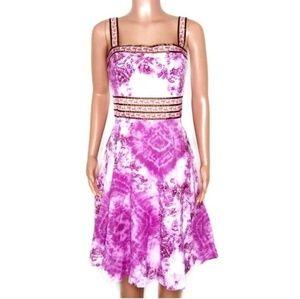BisouBisou Magenta Tie Dye Floral Midi Flowy Dress